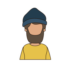 colorful caricature faceless front view half body man bearded with hat vector illustration