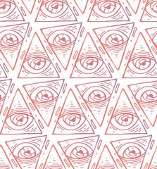 Trendy fashion all seeing eye seamless pattern. Hand drawn Eye pyramidal symbol. Alchemy, religion, spirituality, occultism, textiles art. Isolated vector illustration.