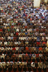 Muslim men pray inside a mosque during the last Friday prayer of the holy month of Ramadan inside a mosque in Beirut, Lebanon