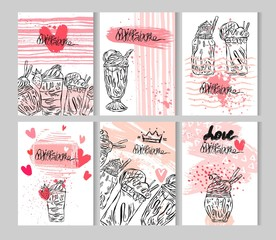 Hand drawn vector abstract color illustration card set of milkshakes in glass