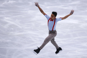 Florent Amodio of France performs during his men's free skating program at the ISU Bompard Trophy event at Bercy in Paris
