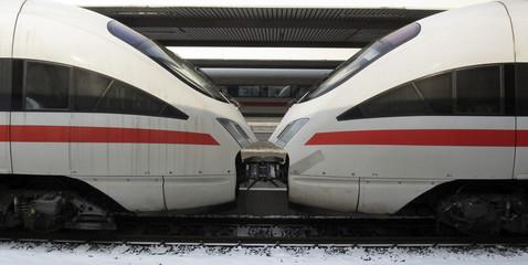 Two InterCityExpress high-speed trains of German railways Deutsche Bahn are seen in Munich