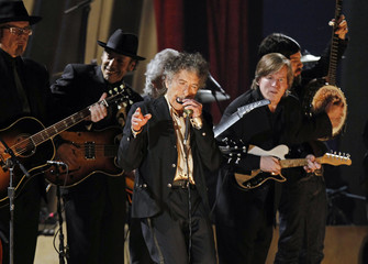"""Bob Dylan performs """"Maggie's Farm"""" at the 53rd annual Grammy Awards in Los Angeles"""