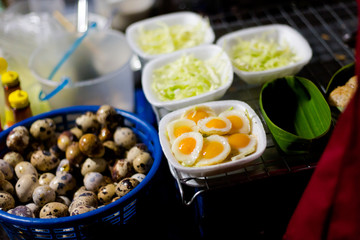 Thai fresh fried quail eggs