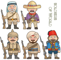 cartoon soldiers of world set of images