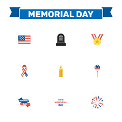 Flat Tomb, Firecracker, Holiday And Other Vector Elements. Set Of Day Flat Symbols Also Includes Grave, Holiday, Rip Objects.