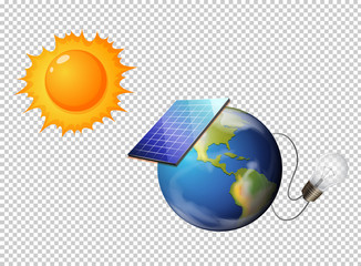 Diagram showing sun and solar cell on earth