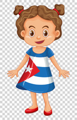 Girl in Cuba flag on dress