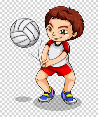 Boy playing volleyball on transparent background