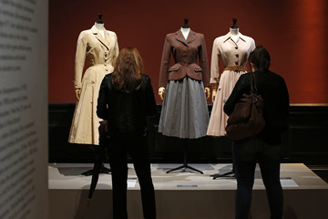 """Vintage dresses by designers Jacques Fath, Jacques Heim and Christian Dior are presented in the exhibition """"Les Annees 50, La mode en France"""" at the Palais Galliera  fashion museum in Paris"""