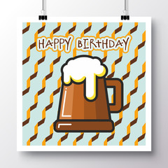 Poster with icon wooden mug of beer and phrase-happy birthday against the background of a seamless pattern. Vector illustration for wallpaper, flyers, invitation, brochure, greeting card, menu.