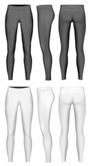 Women's full length leggings. Black and white variants. Vector