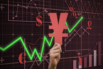 Composite image of hand holding yen sign