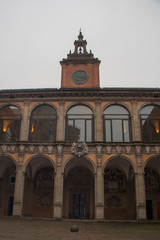 Facade of the library building, Old University of Bologna. Emilia Romagna, Italy.