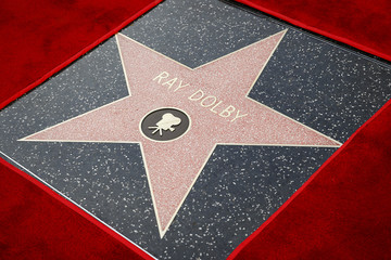 A star for inventor Ray Dolby is seen after being awarded posthumously on the Hollywood Walk of Fame outside the Dolby Theatre in Hollywood, California