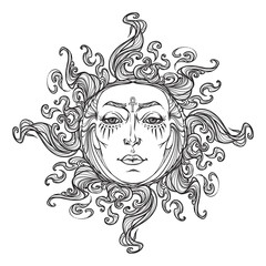 Fairytale style hand drawn sun with a human face. Black and white graphic style decorative element for tattoo textile prints or greeting card design. EPS10 vector illustration.