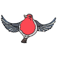 Cute Adorable Red Robin Bird. Isolated On a White Background Doodle Cartoon Hand Drawn Sketch Vector
