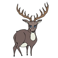 Cute Deer Reindeer Caribou Cartoon Caracter. Isolated On a White Background Doodle Cartoon Hand Drawn Sketch Vector.