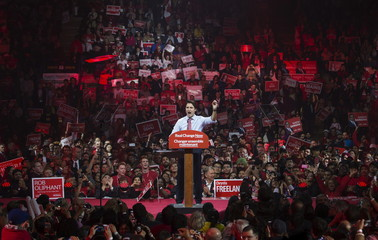 Trudeau speaks at a campaign rally in Brampton