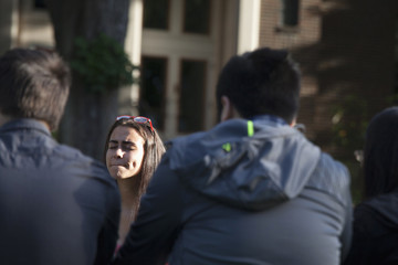 Students pray together after a shooting on campus at Seattle Pacific University in Washington