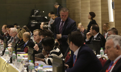 Bubka, vice president of the International Association of Athletics Federation (IAAF) and candidate for the presidency of the International Olympic Committee (IOC) attends the 5th Meeting of the IOC Coordination Commission for the Rio 2016 Olympic Games in