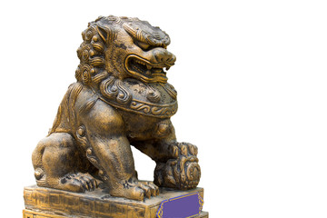 Chinese lion in Thai temple isolated on white background