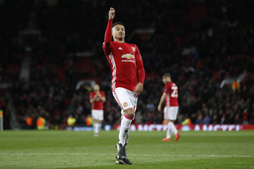Manchester United's Jesse Lingard celebrates scoring their fourth goal