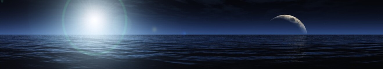 Beautiful night sea landscape, 3d rendering