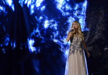 """Carrie Underwood performs """"Something in the Water"""" during the 48th Country Music Association Awards in Nashville"""