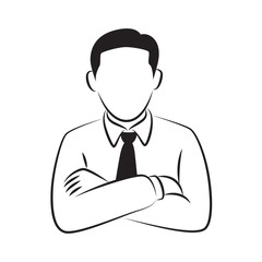drawing businessman standing with arm crossed, vector