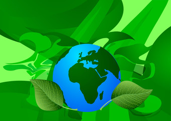 Vector Illustration of World Environment Day. Ecology. Blue Earth with green leaves on green abstract background.