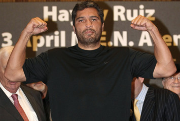 Ruiz of the U.S. stands on the scales at the weigh-in at Manchester town hall ahead of his WBA heavyweight title fight against Britain's Haye