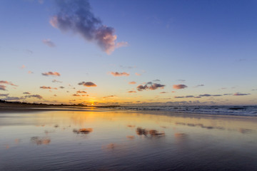 Sunset Atlantic Ocean view at Tamarist beach, in Casablanca south coast.