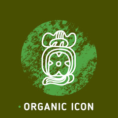 Vector Icon Style Illustration badge for Organic Vegan Healthy Shop or Store. Green Natural Vegetable and Wood Symbols, Farmer Market Countryside with natural Green texture.