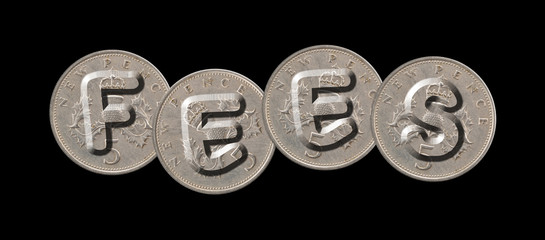 FEES – Coins on black background