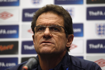 England manager Fabio Capello attends a media conference at Wembley Stadium