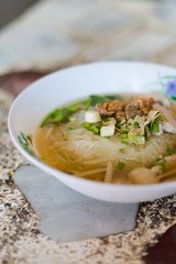 Thai pork clear noodle soup