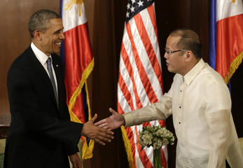 U.S. President Obama meets Philippine's President Benigno Aquino inside Malacanang presidential palace in Manila