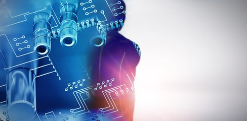 Composite image of circuit board against white background