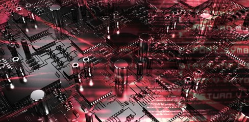 Composite image of close up of circuit board