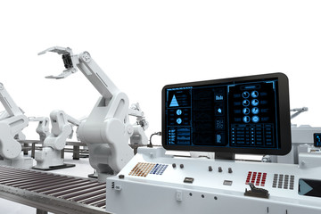 control panel screen with robotic arms