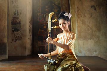 Asian woman wearing traditional thai people,Ayuttaya Thailand,vintage style