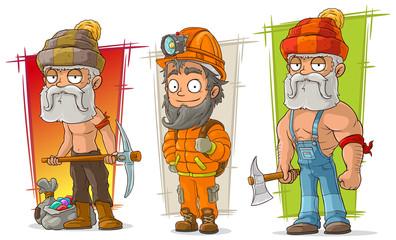 Cartoon digger and lumberjack character vector set