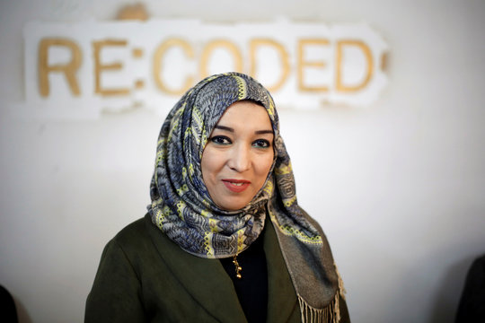 Fatima Mohammed poses for a picture at Re:Coded boot camp, in Erbil