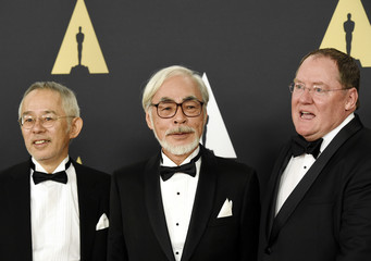 Honoree Hayao Miyazaki poses during the Academy of Motion Picture Arts and Sciences Governors Awards in Los Angeles
