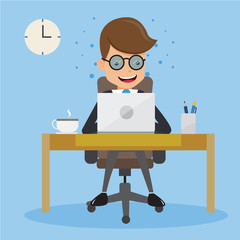 Businessman in Suit Working with Computer on Table in The Office. Concept business vector illustration Flat Style.