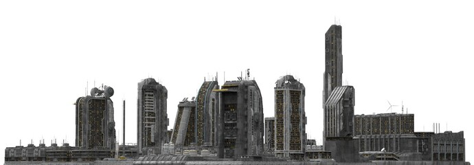 Future Cityscape Isolated On White 3D Illustration