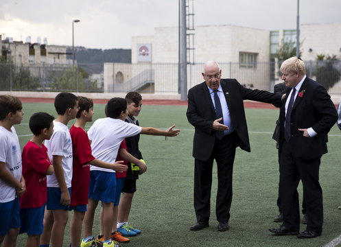"""London's mayor Boris Johnson and Israel's President Reuven Rivlin attend the launch of a new soccer season of the """"Equalizer"""" organization in Jerusalem"""