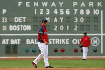 Boston Red Sox Matsuzaka smiles during practice before their MLB baseball game against Detroit Tigers in Boston
