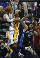 Indiana's Granger shoots on Orlando's Turkoglu during an NBA basketball playoffs game in Indianapolis